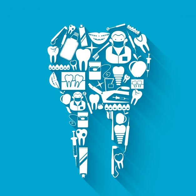 Imagem de dente composto por vários ícones